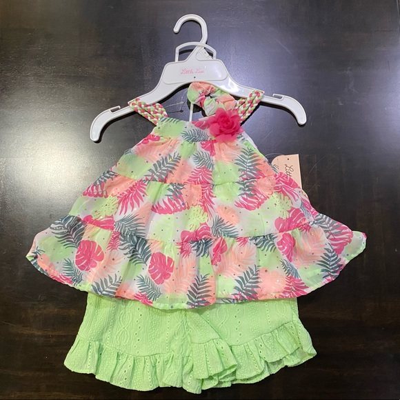 Little Lass Girl 2-Piece Shorts Set with Accessory